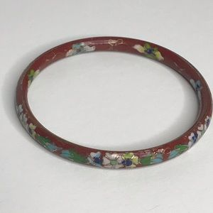 Jewelry - Bracelet Enamel Multi Floral on Rust